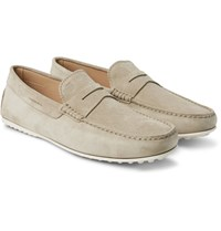 Tod's City Gommino Suede Penny Loafers Ecru
