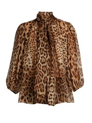 Dolce And Gabbana Leopard Print Neck Tie Silk Blouse