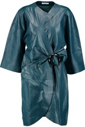 J.W.Anderson Buckled Leather Wrap Dress Teal