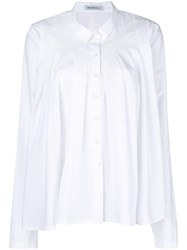 Rundholz Asymmetric Pleated Shirt White