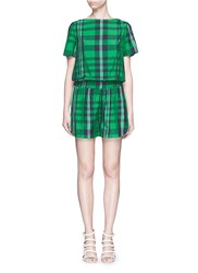 Stella Mccartney 'Aurore' Gingham Check Boat Neck Rompers Green