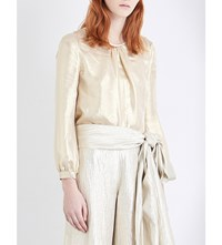 Oscar De La Renta Pleated Metallic Blouse Pale Gold