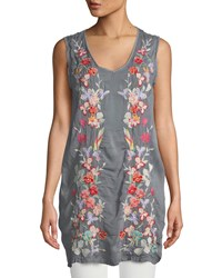 Johnny Was Cattleya Embroidered Long Tunic Blue Steel