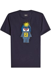 Fendi Monster Cotton T Shirt With Fox Fur