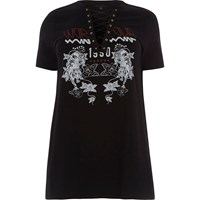 River Island Plus Black Band Print Lace Up T Shirt