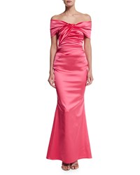 Talbot Runhof Off The Shoulder Pleated Gown Shocking Pink
