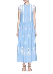 Temperley London 'Gilda' Floral Embroidery Sleeveless Chambray Maxi Dress Blue
