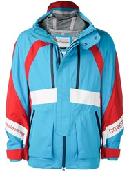 White Mountaineering Hooded Colour Blocked Jacket Blue