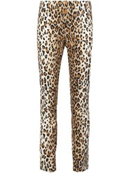 Carolina Herrera Leopard Print Straight Trousers Nude And Neutrals