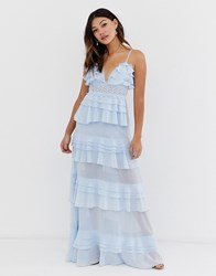 True Decadence Premium Frill Layered Cami Maxi Dress With Lace Insert In Soft Blue