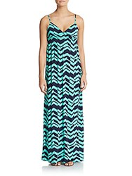 Saks Fifth Avenue Red Chevron Print Empire Waist Maxi Dress Light Green