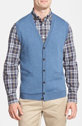 Nordstrom Button Front Merino Wool Vest Blue Dark