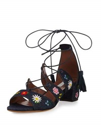 Tabitha Simmons Isadora Floral Embroidered Lace Up Sandal Blue Indigo