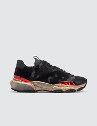 Valentino Bounce Camouflage Fabric And Metallic Leather Sneaker Multicolor