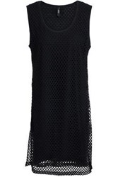 Versus By Versace Layered Cotton Jersey And Mesh Mini Dress Black