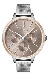 Boss Symphony Mesh Strap Watch 38Mm Silver Gold