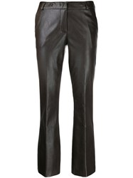Kiltie Textured Cropped Trousers Brown