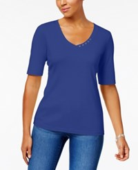 Karen Scott Elbow Sleeve Cotton Top Created For Macy's Ultra Blue