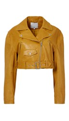 Tibi Anesia Leather Cropped Moto Jacket