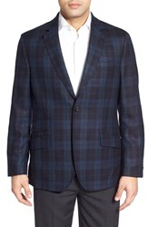 Men's Big And Tall Flynt Plaid Two Button Sport Coat With Suede Elbow Patches Navy