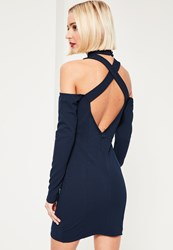 Missguided Navy Cut Out High Neck Long Sleeve Mini Dress