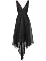 Marchesa Notte Plunge High Low Gown Nylon Polyester Black