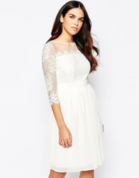 Little Mistress Lace Dress With Mesh Insert And Box Pleat White