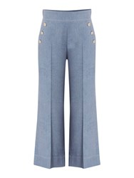 Marella Golia Chambray Culottes With Front Button Detail Blue