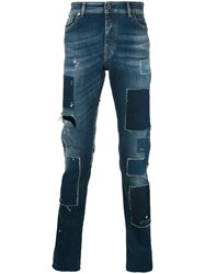 Diesel Black Gold Patch Tapered Jeans Men Cotton Spandex Elastane 29 Blue