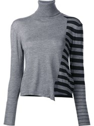 Les Animaux Striped Turtleneck Jumper Grey