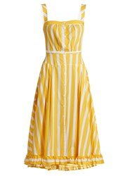 Thierry Colson Rossana Striped Ruffled Hem Cotton Dress Yellow Multi