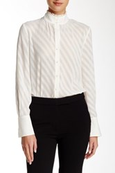 Ellen Tracy Ruffled Mock Neck Blouse White