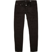 River Island Mensblack Sid Cropped Skinny Jeans