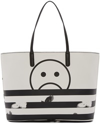 Marc By Marc Jacobs White And Black Unsmiley Metropoli Tote