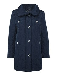 Tigi Shawl Collar Quilted Coat Navy