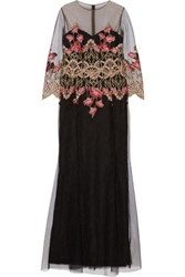 Marchesa Notte Embroidered Tulle Gown Black