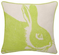 Thomas Paul Kiwi Bunny Linen Pillow Green White