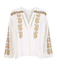 Sandro Bali Embroidered Kaftan Top Female White