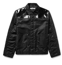 Givenchy Slim Fit Faux Leather Panelled Shell Jacket Black