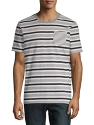 Sovereign Code Striped Henley Cotton Tee Black