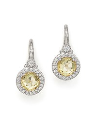 Judith Ripka Sterling Silver Round Drop Earrings With White Sapphire And Canary Crystal Yellow Silver