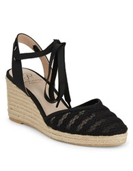 Adrianna Papell Penny Lace Wedge Sandals Black