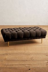 Anthropologie Velvet Mina Grand Ottoman Chocolate