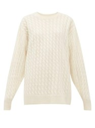 The Row Minorj Cable Knit Cashmere Blend Sweater Ivory