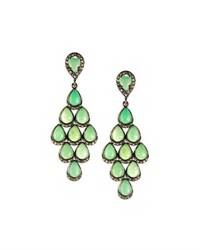 Bavna Teardrop Chrysoprase And Diamond Dangle Earrings