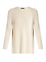 The Row Selina Ribbed Knit Cotton Blend Sweater Beige