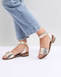 Hudson H By Leather Flat Sandals Gold