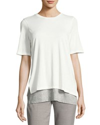 Vince Short Sleeve Double Layer Colorblock Tee White Gray