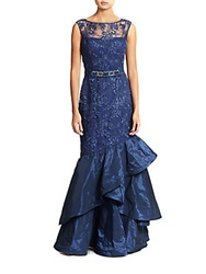 Teri Jon Lace And Taffeta Mermaid Gown Sapphire