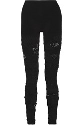 Junya Watanabe Mesh Paneled Stretch Knit Leggings Black